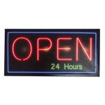 Quadro Led Open 24 Hours em MDF