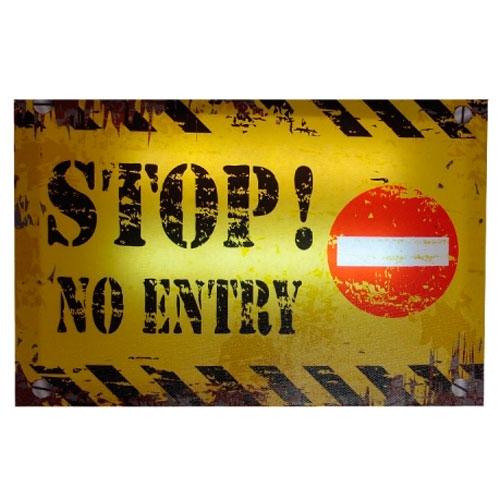 Quadro Led Stop! No Entry em MDF - 30x20 cm