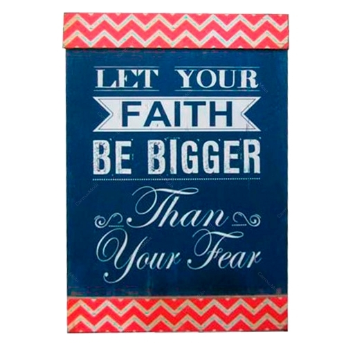 Quadro Let Your Faith Be Bigger Than Your Fear em Madeira - 90x40 cm