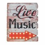 Quadro Live Music em Madeira com Detalhe de Led - 67x54 cm