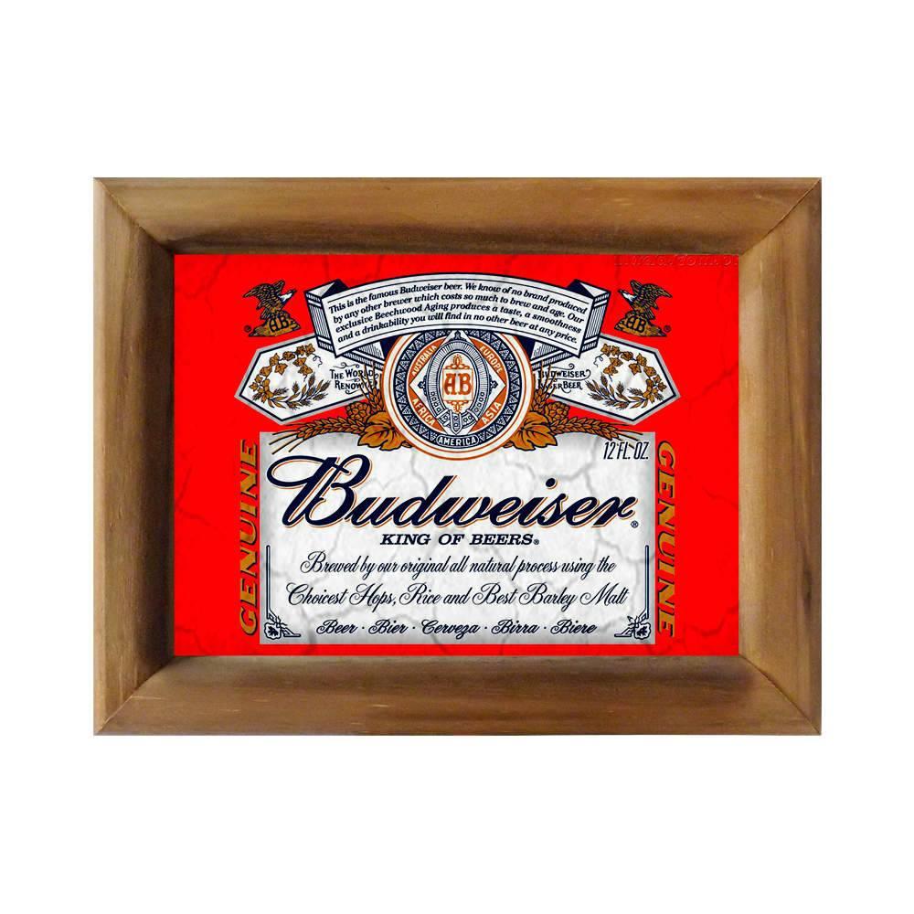 Quadro Logomarca Cerveja Budweiser Genuine em Madeira - 26x20 cm