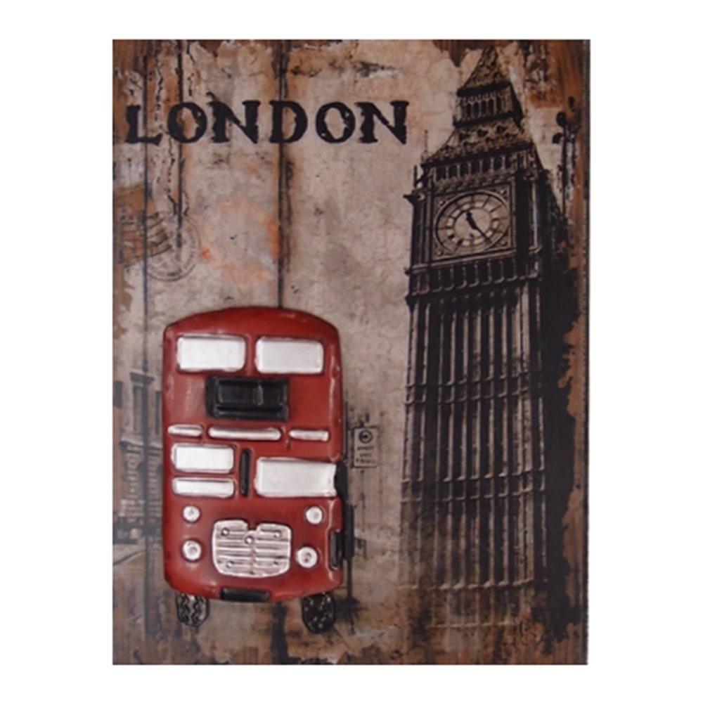 Tela Londres Bus Vermelho em Madeira com Relevo em Metal - 40x30 cm