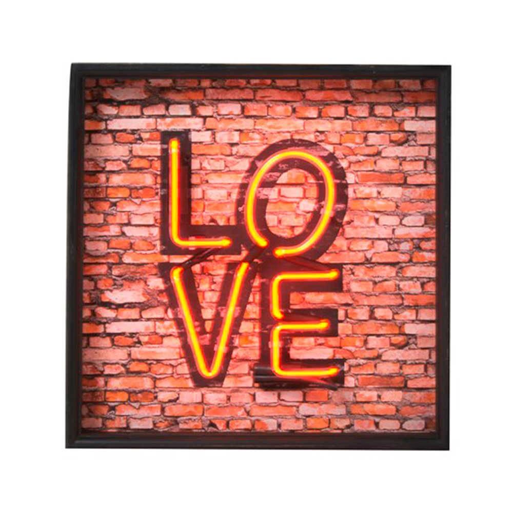 Quadro Love em Madeira com Detalhe em Neon - 43x43 cm