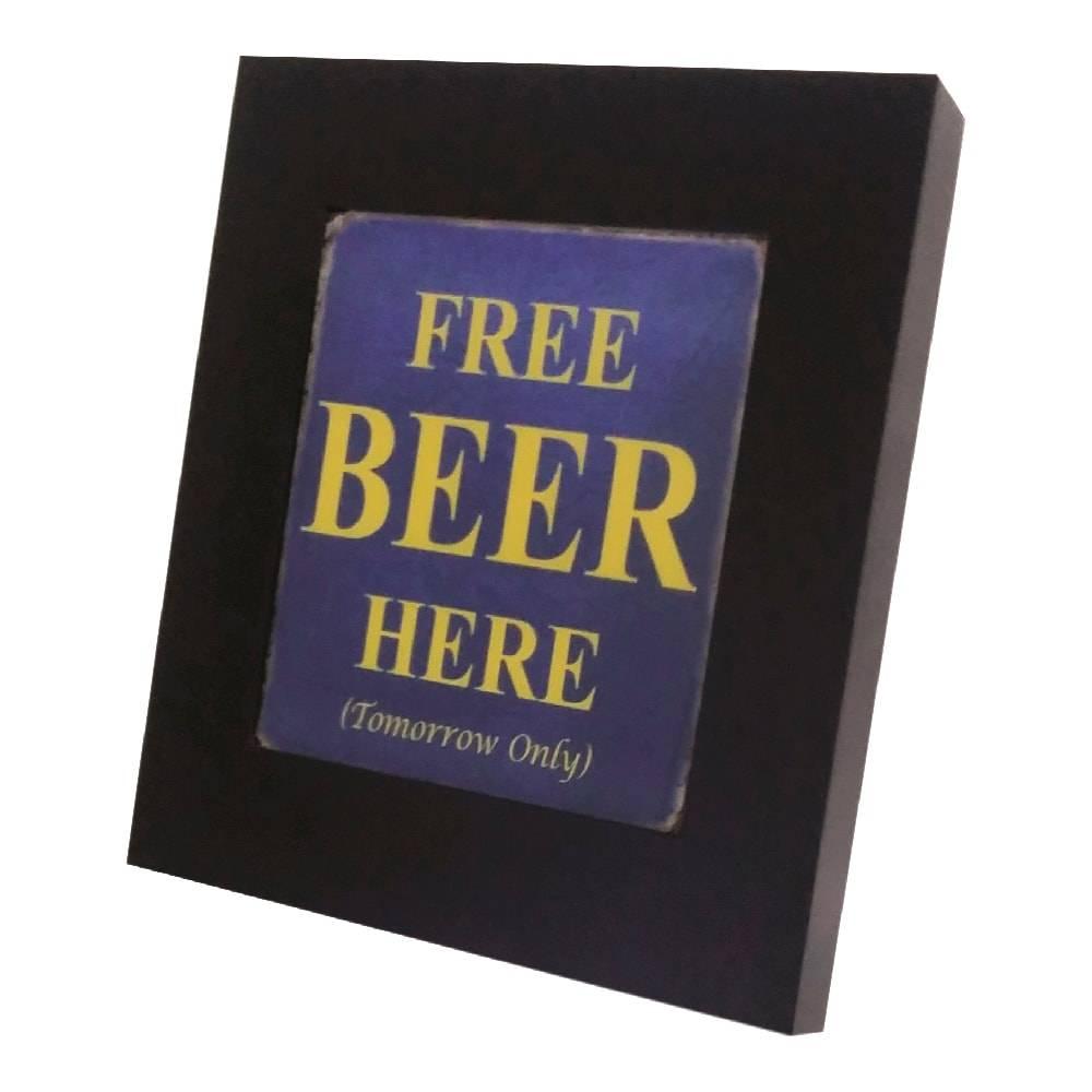 Quadro Luminária Free Beer Here com Leds em MDF Laqueado - 36x36 cm