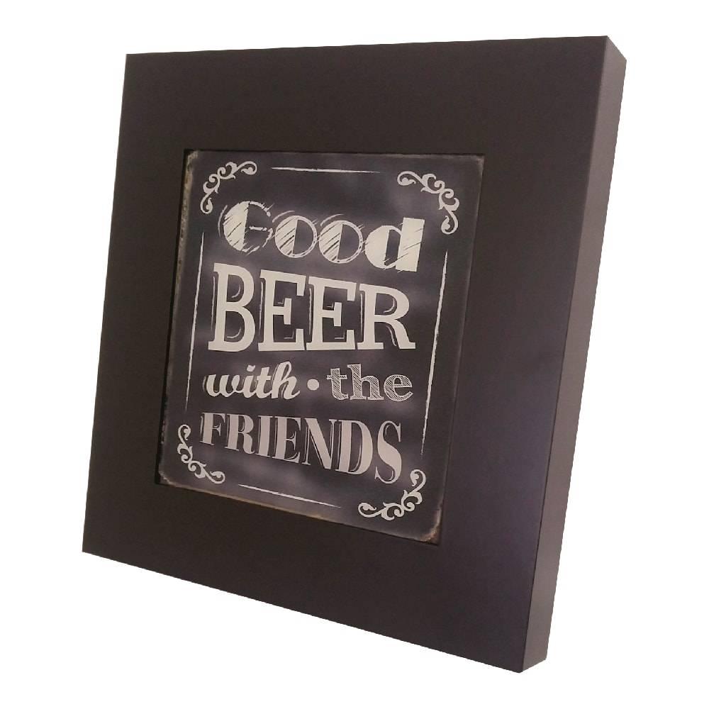 Quadro Luminária Good Beer com Leds em MDF Laqueado - 36x36 cm