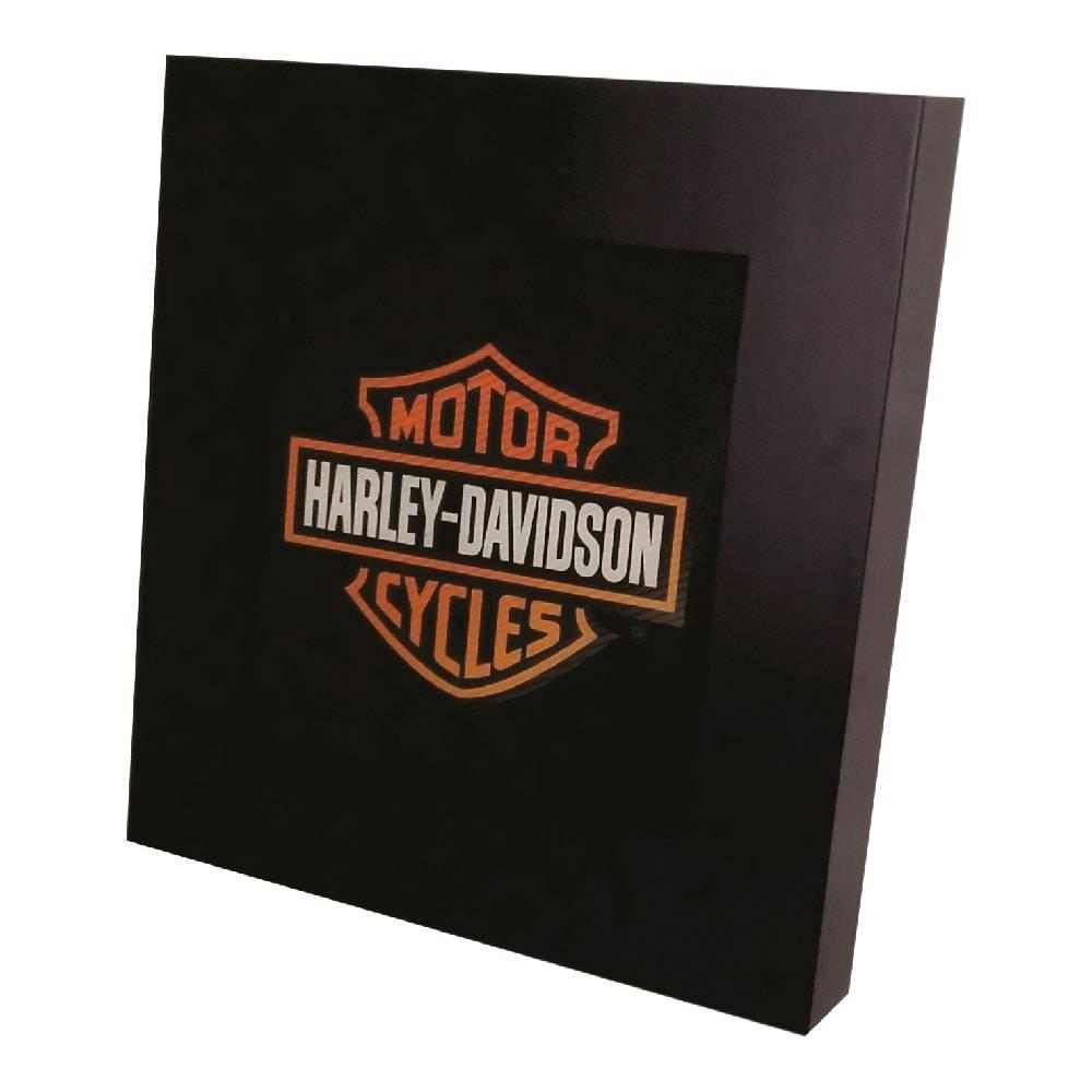Quadro Luminária Harley Davidson com Leds em MDF Laqueado - 36x36 cm
