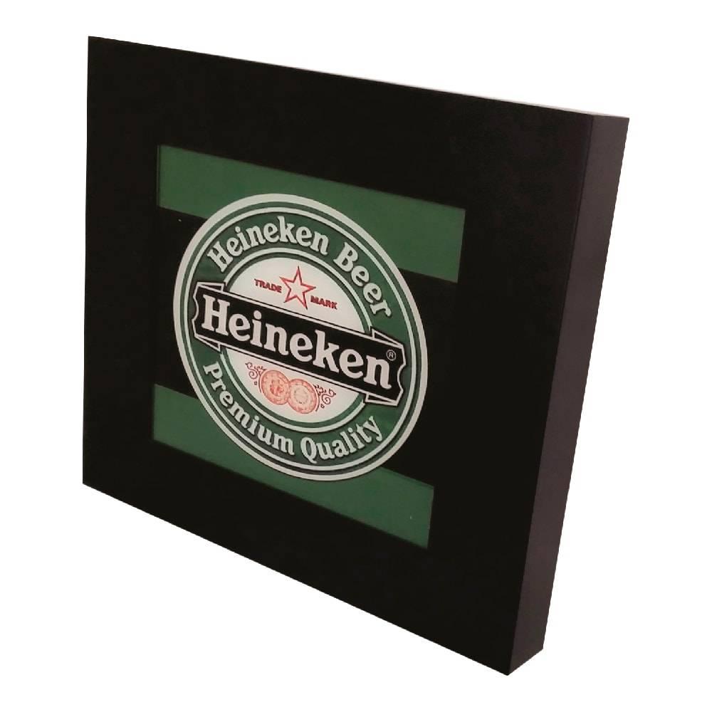 Quadro Luminária Heineken Logo com Leds em MDF Laqueado - 36x36 cm