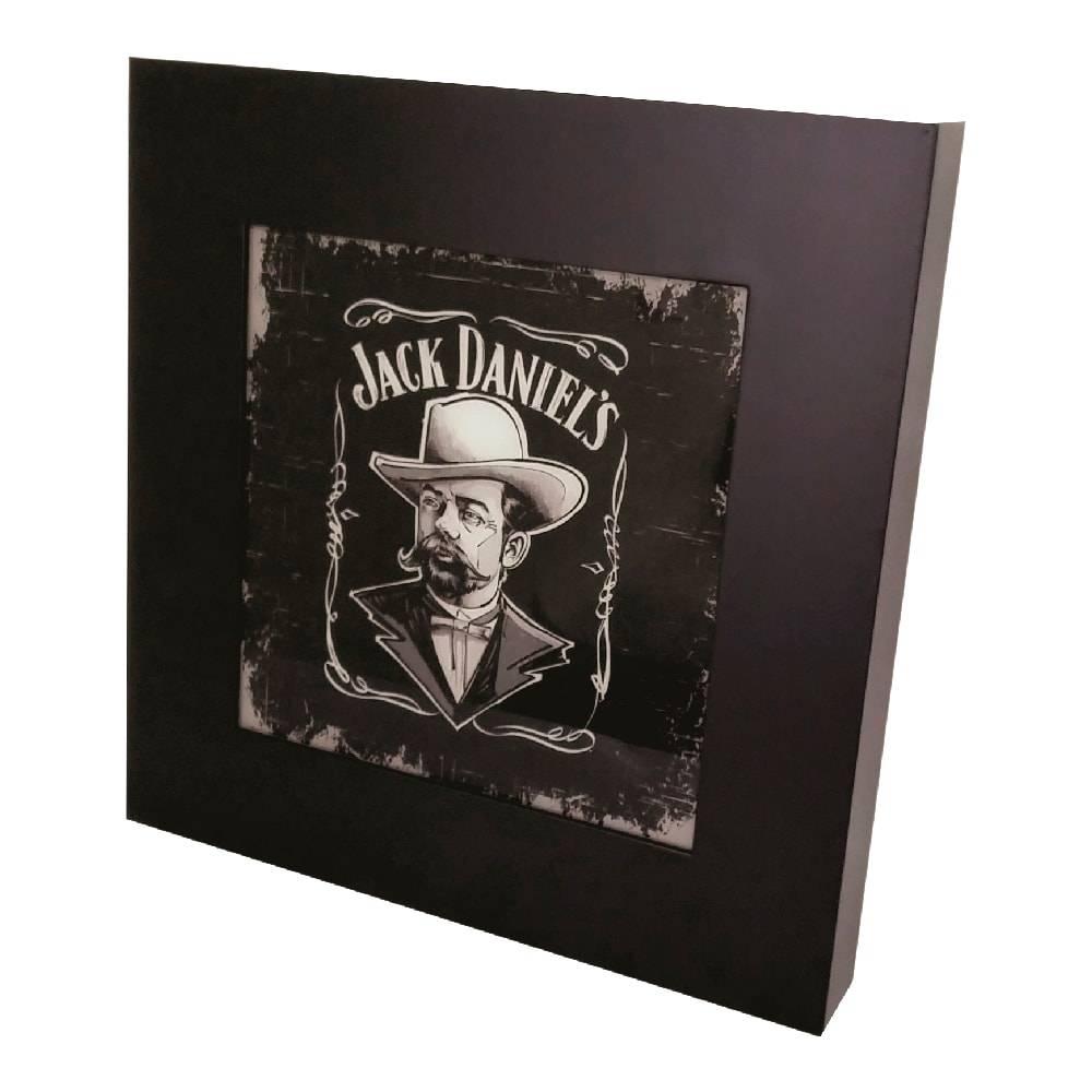 Quadro Luminária Jack Daniel´s Man com Leds em MDF Laqueado - 36x36 cm