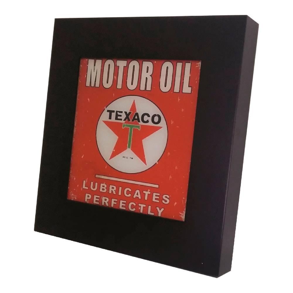 Quadro Luminária Motor Oil Texaco com Leds em MDF Laqueado - 36x36 cm