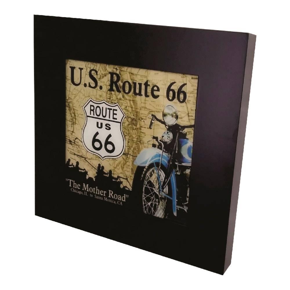 Quadro Luminária Route 66 com Leds em MDF Laqueado - 36x36 cm