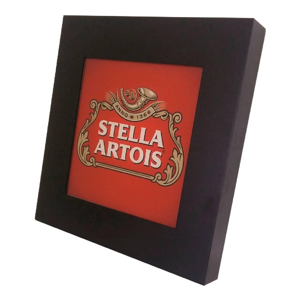 Quadro Luminária Stella Artois com Leds em MDF Laqueado - 36x36 cm