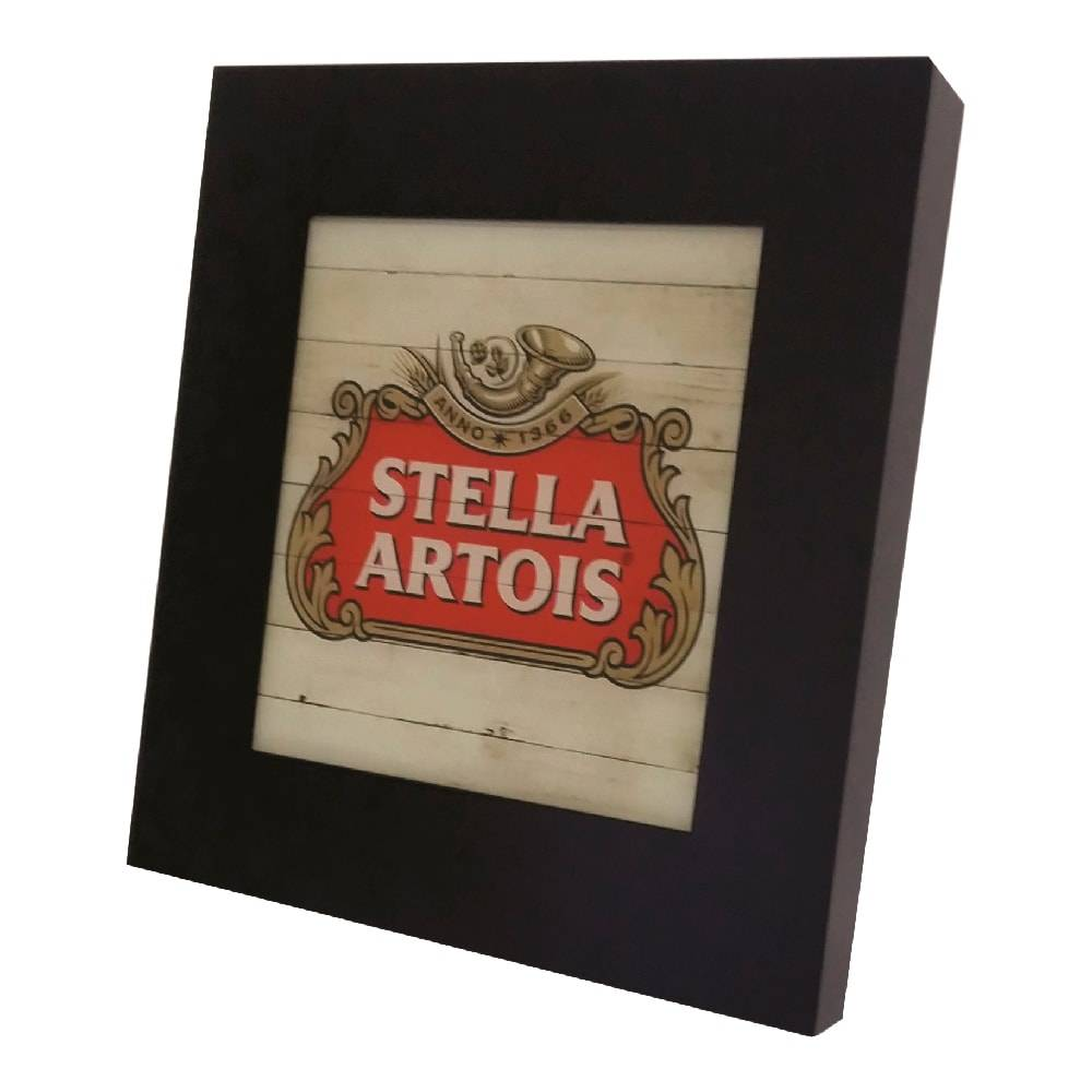 Quadro Luminária Stella Artois Madeira com Leds em MDF Laqueado - 36x36 cm