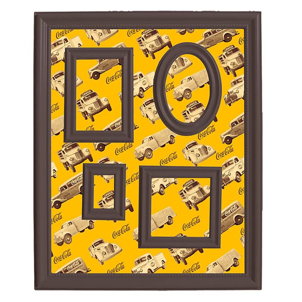 Quadro Magnético para Retratos Coca-Cola All Trucks Fundo Amarelo - Urban - 57x46 cm