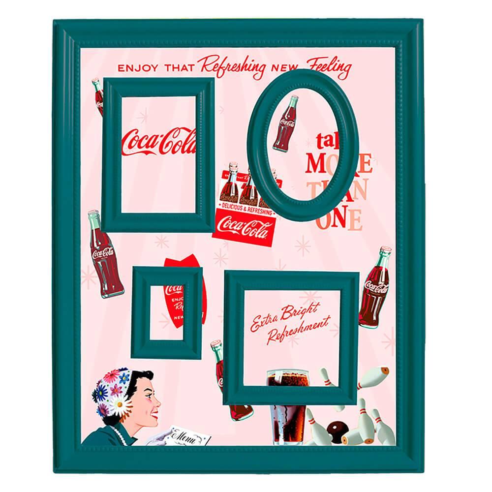 Quadro Magnético para Retratos Coca-Cola Pin Up Flower Hat Fundo Rosa - Urban - 57x46 cm