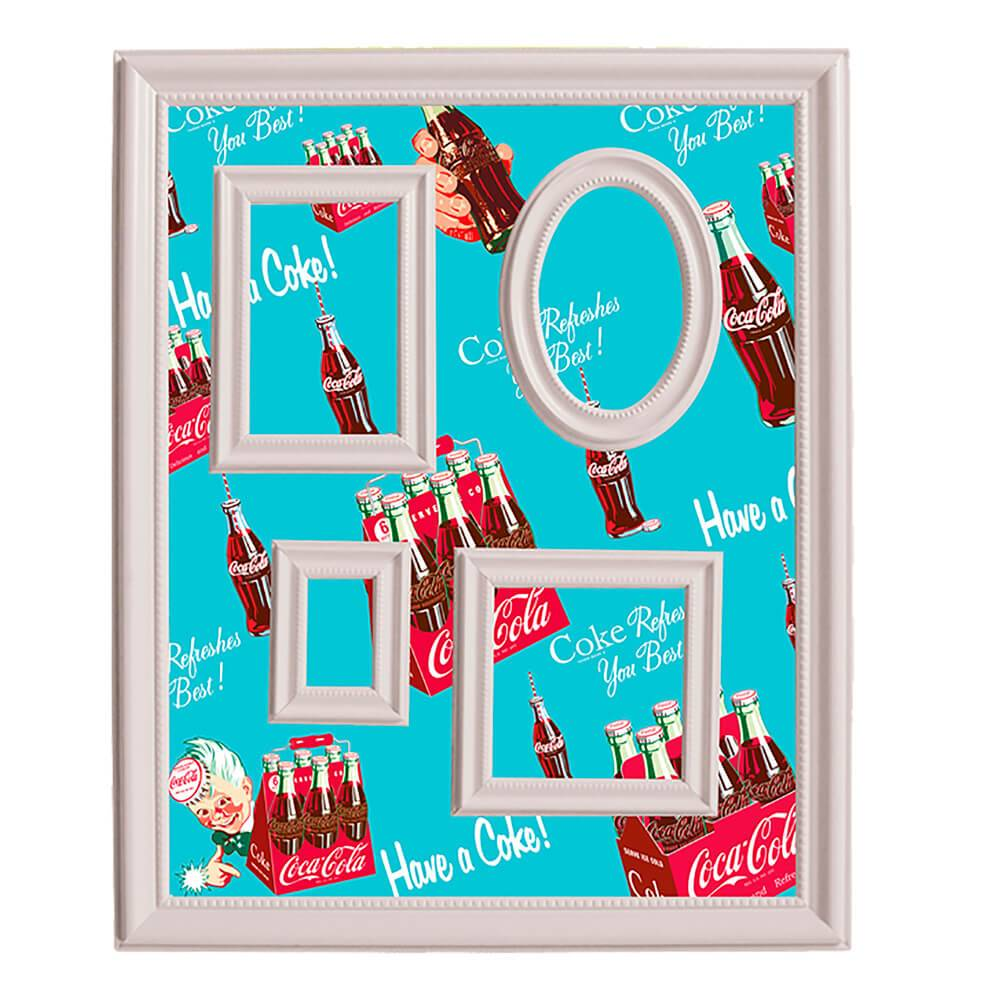 Quadro Magnético para Retratos Coca-Cola Six Pack Bottles Fundo Azul - Urban - 57x46 cm