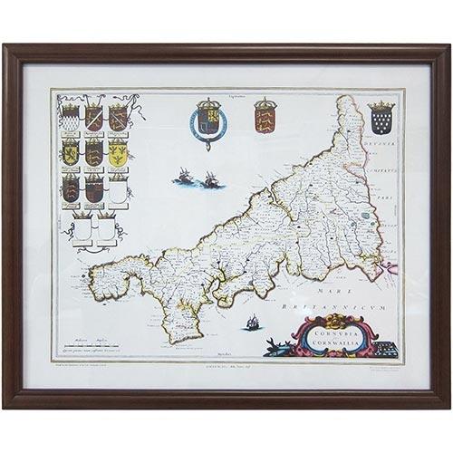Quadro Mapa e Brasões de Linhagem Real em Madeira - 66x54 cm