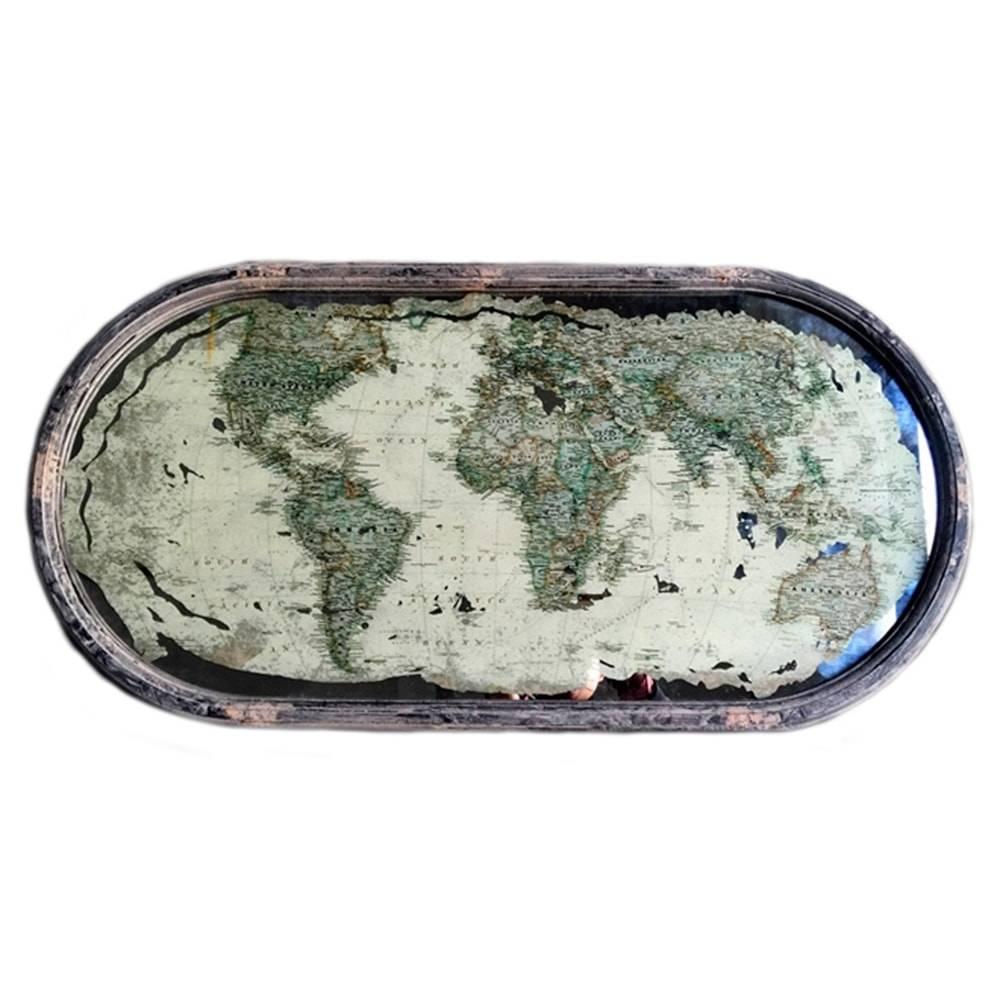 Quadro Mapa em Madeira c/ Proteção em Vidro - 80x40 cm