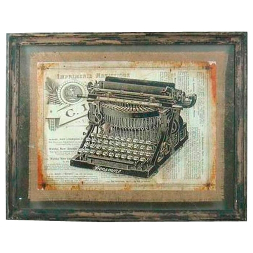 Quadro Máquina de Datilografar Shabby Chic em Madeira - 71x56 cm