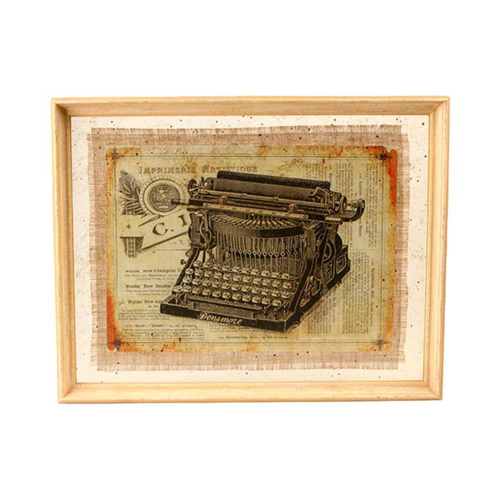 Quadro Maquina de Escrever Preta em Madeira e Vidro - 70x56 cm