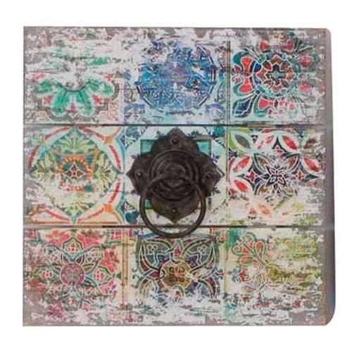 Quadro Mosaico Argola de Metal em Madeira - 50x50 cm