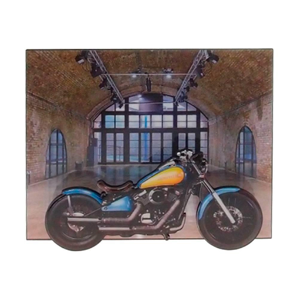 Quadro Moto 3D Azul e Amarela em MDF - 26x22 cm
