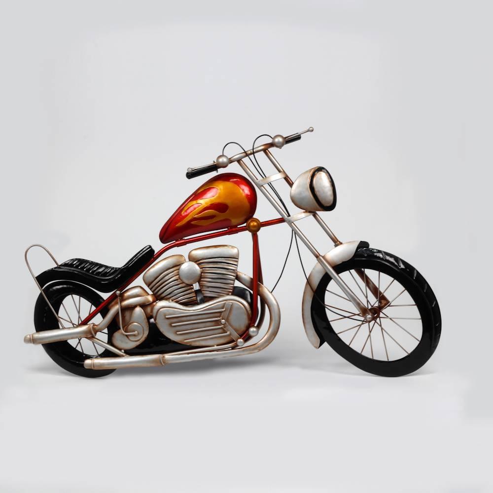 Placa Moto Laranja Retrô em Metal - Prestige - 78x46 cm