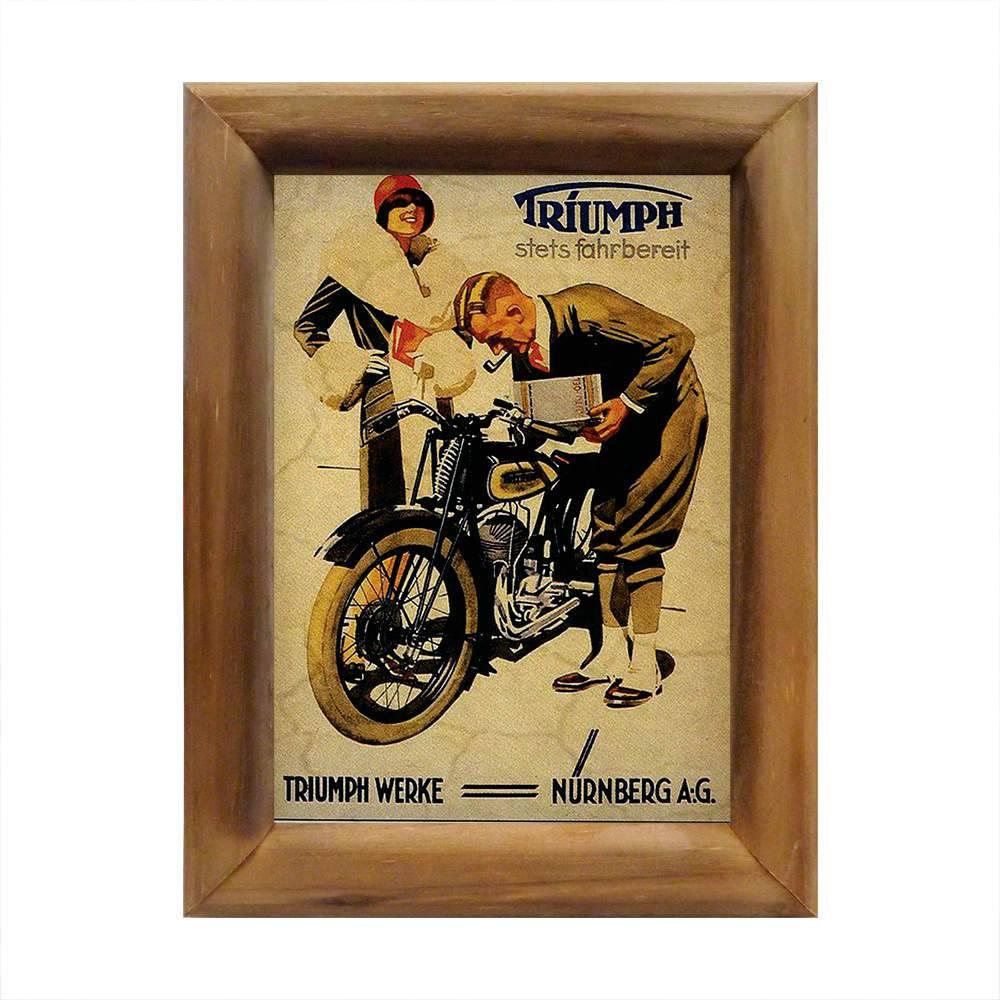 Quadro Motocicleta Triumph Werke em Madeira - 26x20 cm