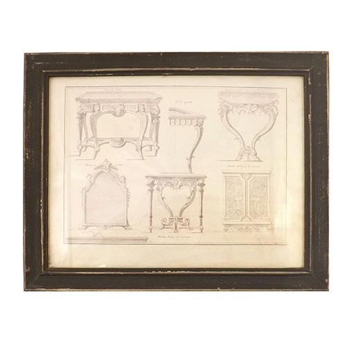 Quadro Móveis Antigos - Madeira / Vidro / Papel - 40x32 cm