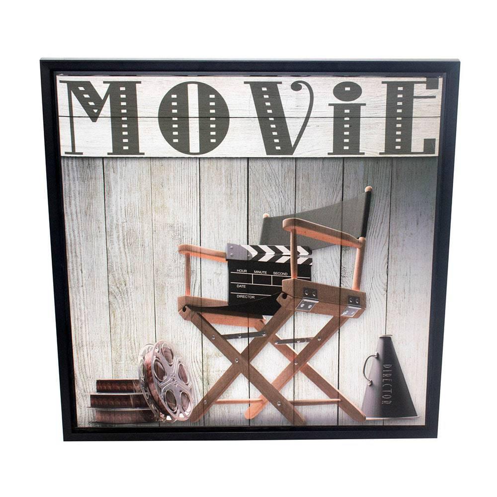Quadro Movie Cadeira Fullway em Madeira e Canvas - 60x60x3,5 cm