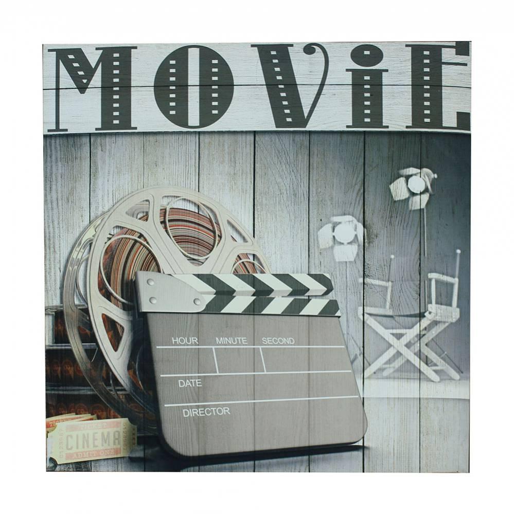 Quadro Movie Claquete Fullway em Madeira e Canvas - 60x60x3,5 cm