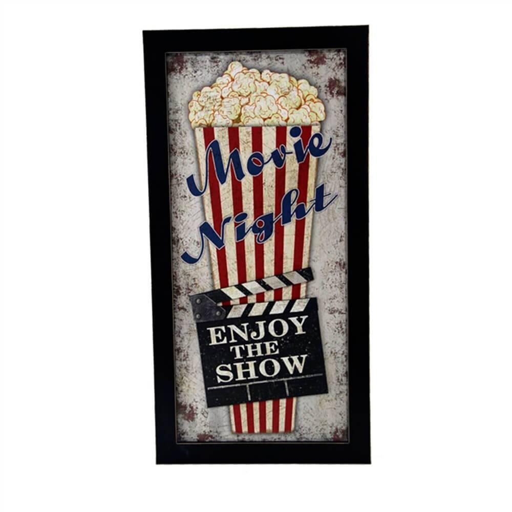 Quadro Movie Night Cinema Pipoca em Madeira - 70x35 cm