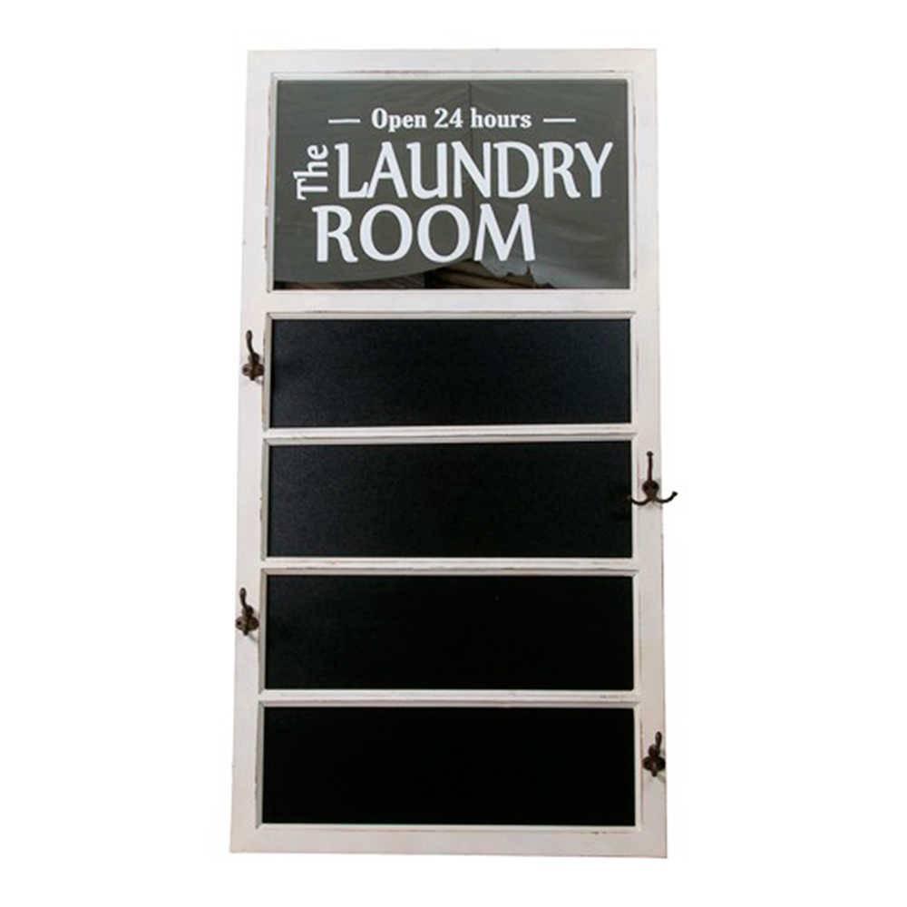 Quadro Negro The Laundry Room em Madeira - 123x66 cm