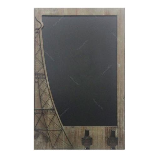 Quadro Negro Torre Eiffel de Metal em Madeira - 73x46 cm