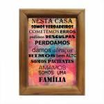 Quadro Nesta Casa Somos Uma Família Multicolorido em Madeira