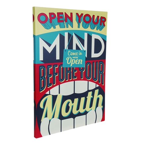 Quadro Open Your Mind em Madeira com Estampa em Canvas - 80x60 cm