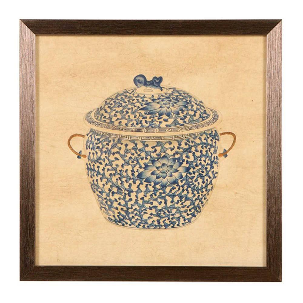 Quadro Panela de Porcelana Azul e Bege em Madeira - 33x33 cm