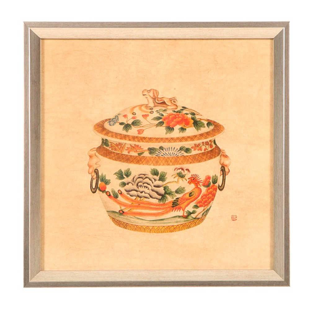 Quadro Panela de Porcelana Estampada Bege e Laranja em Madeira - 33x33 cm