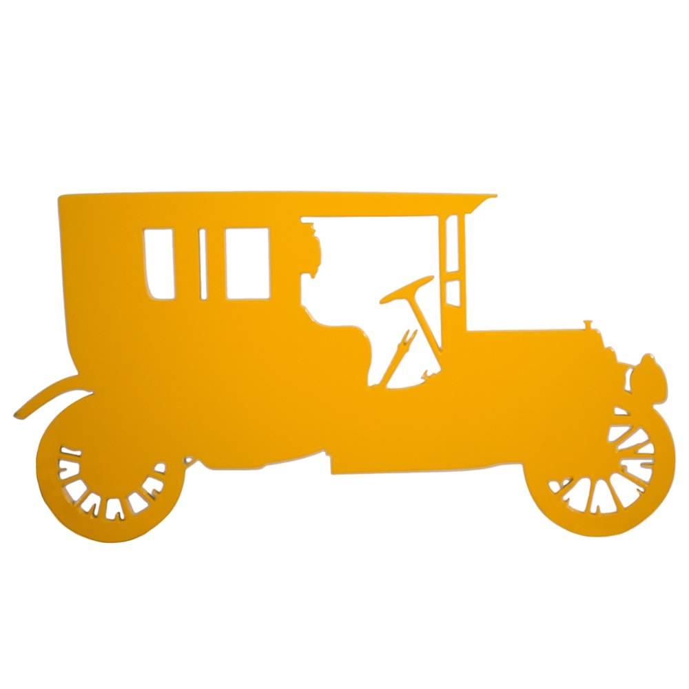 Quadro de Parede Ford Modelo A Amarelo Médio em MDF - 33x17 cm