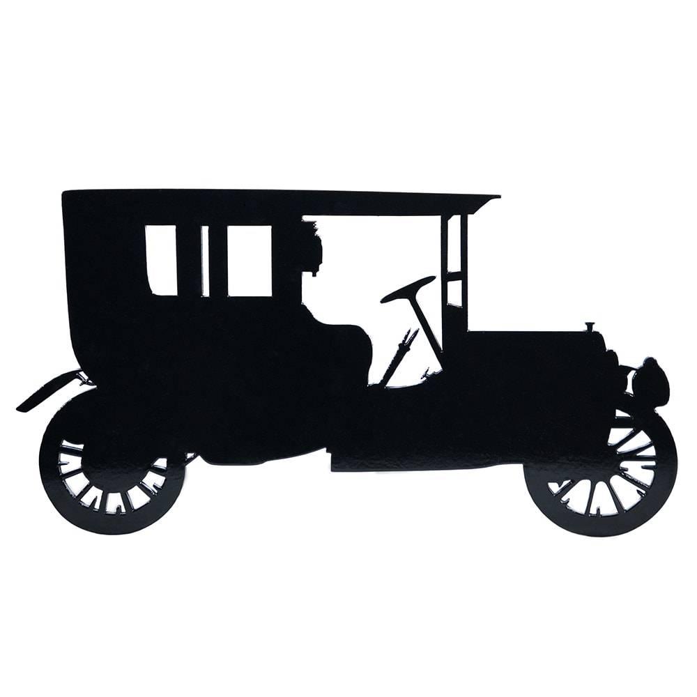 Quadro de Parede Ford Modelo A Preto Grande em MDF - 43x22 cm