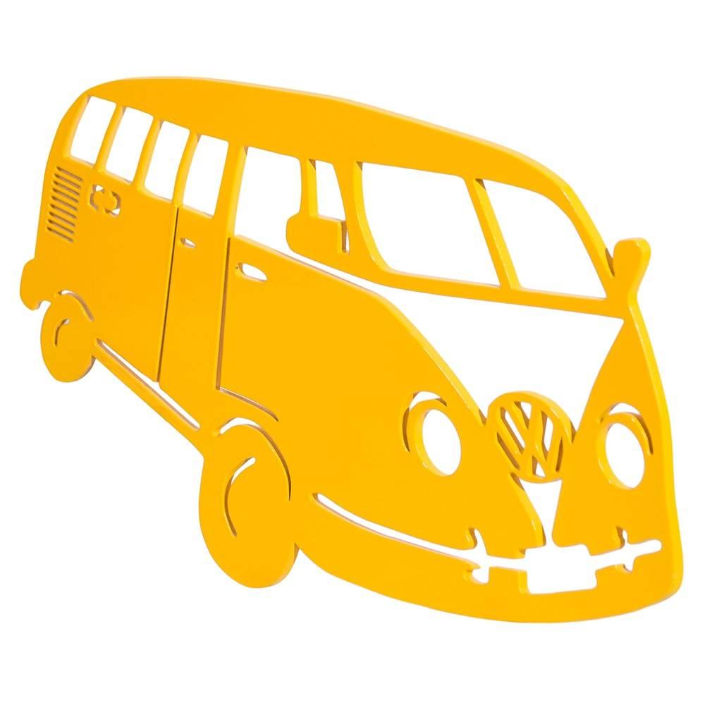Quadro de Parede Kombi Amarelo Grande em MDF - 43x26 cm