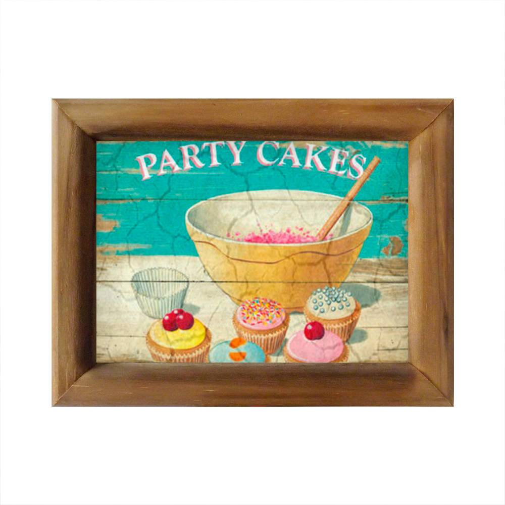 Quadro Party Cakes Vintage com Moldura em Madeira - 26x20 cm