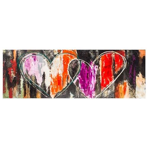 Quadro Pintura 2 Corações Orange Purple Fullway - 70x200 cm