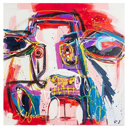 Quadro Pintura Abstrata Boi Colorido Fullway - 110x110 cm