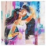 Quadro Pintura Abstrata Casal aos Beijos Fullway - 110x110 cm