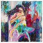 Quadro Pintura Abstrata Casal Colorido Fullway - 110x110 cm