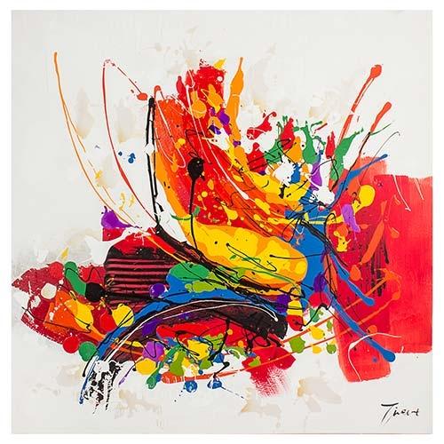 Quadro Pintura Abstrata Tinta Espalhada Fullway - 120x120 cm