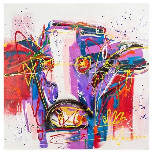 Quadro Pintura Abstrata Vaca Colorida Fullway - 110x110 cm