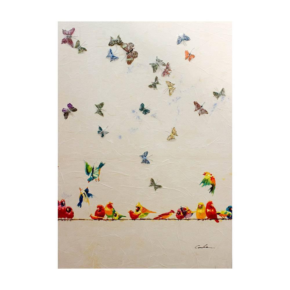 Quadro Pintura Borboletas e Pássaros Fullway - 140x100 cm