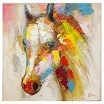 Quadro Pintura Cavalo Perfil Esquerdo Fullway - 90x90 cm