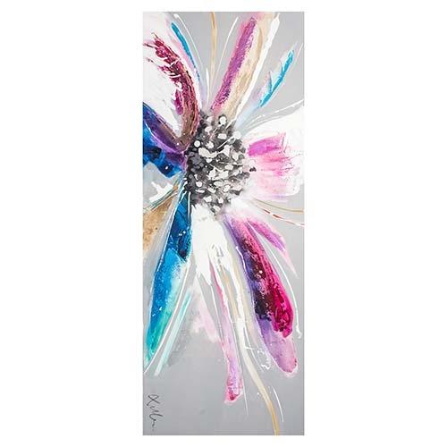 Quadro Pintura Flor Blue Pink Fullway - 70x180 cm